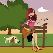 Girl playing guitar vector — Stock Vector