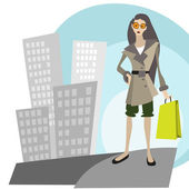 Shopping in the city — Stock Vector