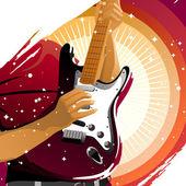 Playing guitar — Stockvektor