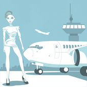 Woman and airplane — Stock Vector