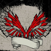 Grunge wing frame — Stock Vector