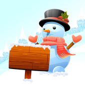 Sněhulák a vývěsní štít — Stock vektor
