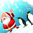 Santa with penguins — Stock Vector