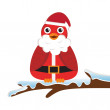 Bird wearing Santa costume — Stock Vector