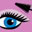 Female eye mascara — Stock Vector