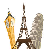 Eiffel tower, pisa tower and big ban. — Stock Vector