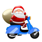 Santa riding a scooter — ストックベクタ