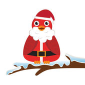 Bird wearing Santa costume — Stock Vector