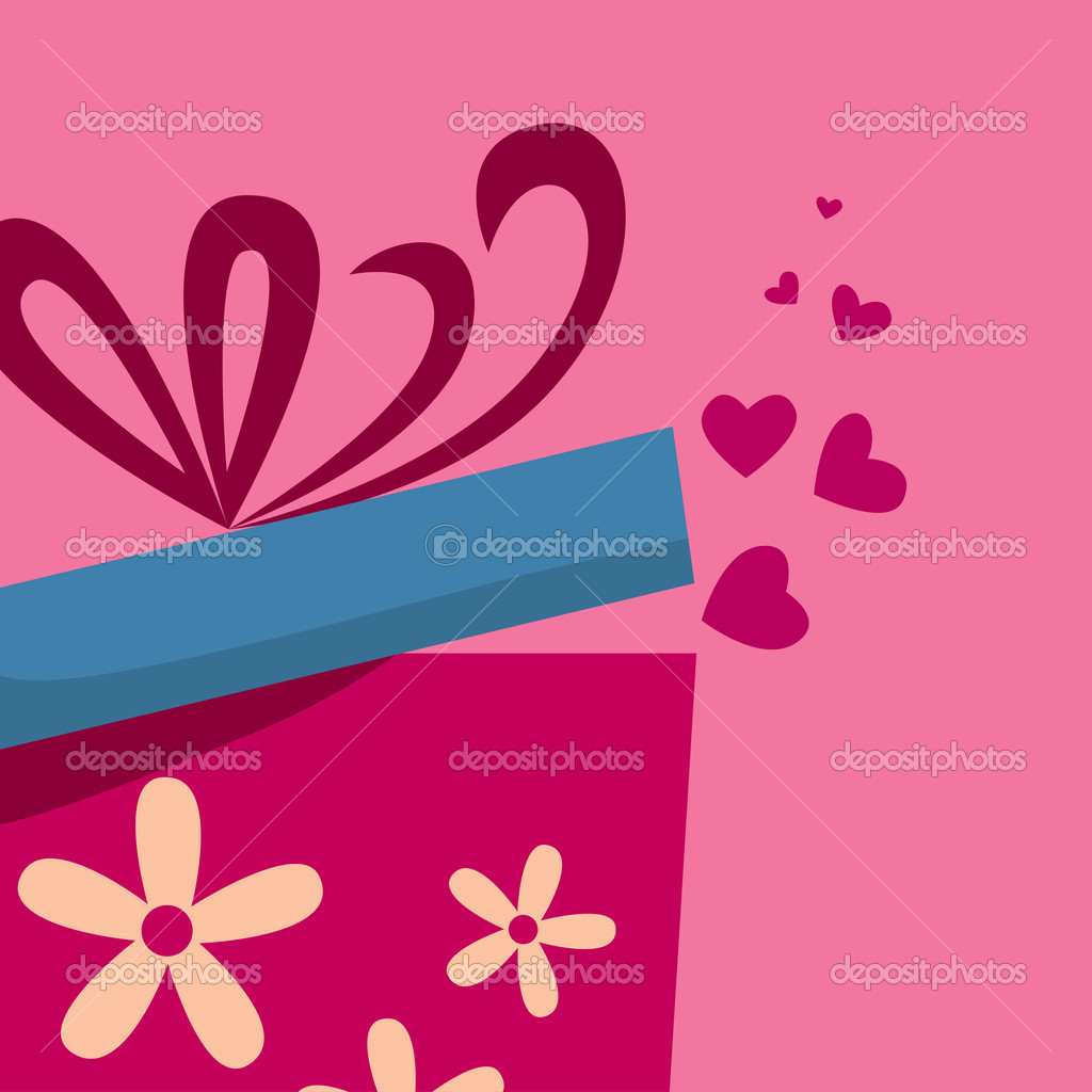 Abstract Gift box with fly hearts  — Stock Vector #7619396