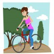 Girl with bicycle — Stock Vector