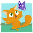 Cat playing with butterfly — Stock Vector