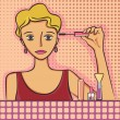 Vector de stock : Girl making up
