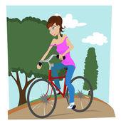 Meisje met fiets — Stockvector