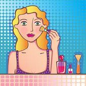 Girl making up — Stock Vector