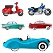 Old cars and bike — Stock Vector