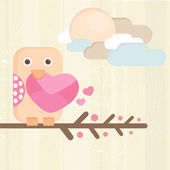 Vogel en liefde brief — Stockvector