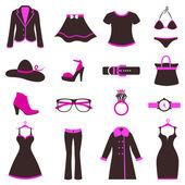 Women fashion icons — Stock Vector