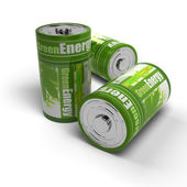 Renewable energies concept - green and eco friendly batteries — Stock Photo