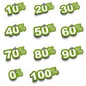 Conjunto de adesivos de porcentagem — Foto Stock