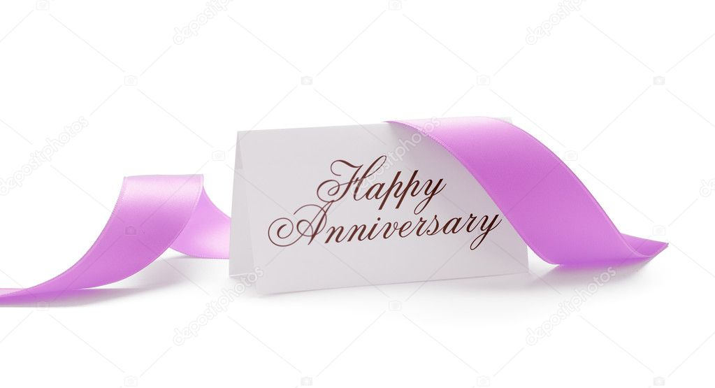 Happy anniversary card with a pink ribbon over a white background — Stock Photo #6895386