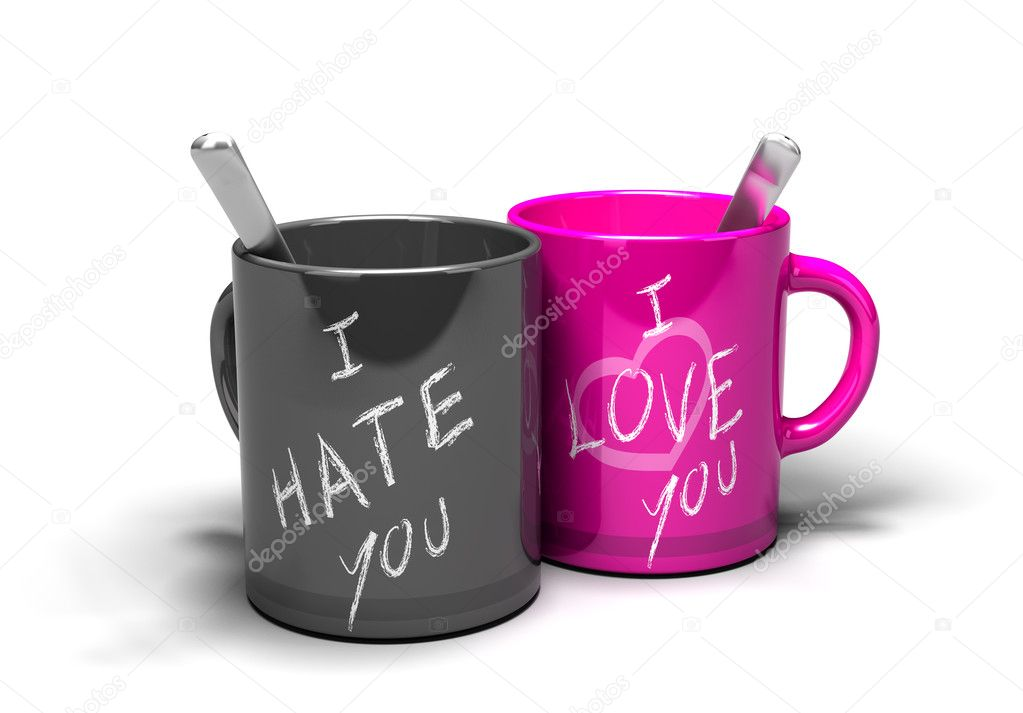 Two mugs where it 's written i love you and i hate you concept of a love-hate relationship — Stock Photo #6897702
