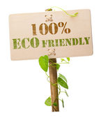 100% eco friendly green sign — Stock Photo