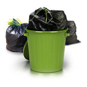 Green garbage can — Stock Photo