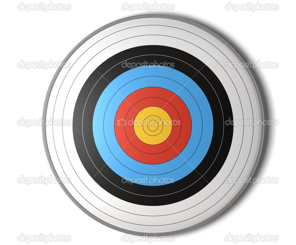 Face view of an archery target over a white background with shadow — Stock Photo #7651400