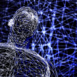 3d futuristic man wire frame in binary network — Stock Photo