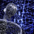 3d futuristic man wire frame in binary network — Stock Photo #6921816