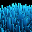Binary abstract city, 3d tech background — Stok fotoğraf