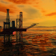 Royalty-Free Stock Photo: 3d Oil Rig Silhouette, Ocean and Sunset, Orange Sky
