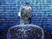 3d futuristic man wire frame in binary network — Stock Photo