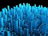 Binary abstract city, 3d tech background — Stockfoto