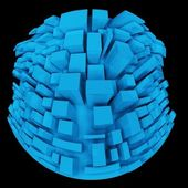 3d Strange Distorted Abstract City, Little Planet in Fish Eye — Stock Photo