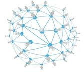 Social network connection concept, abstract 3d planet fish eye isolated whi — Stock Photo