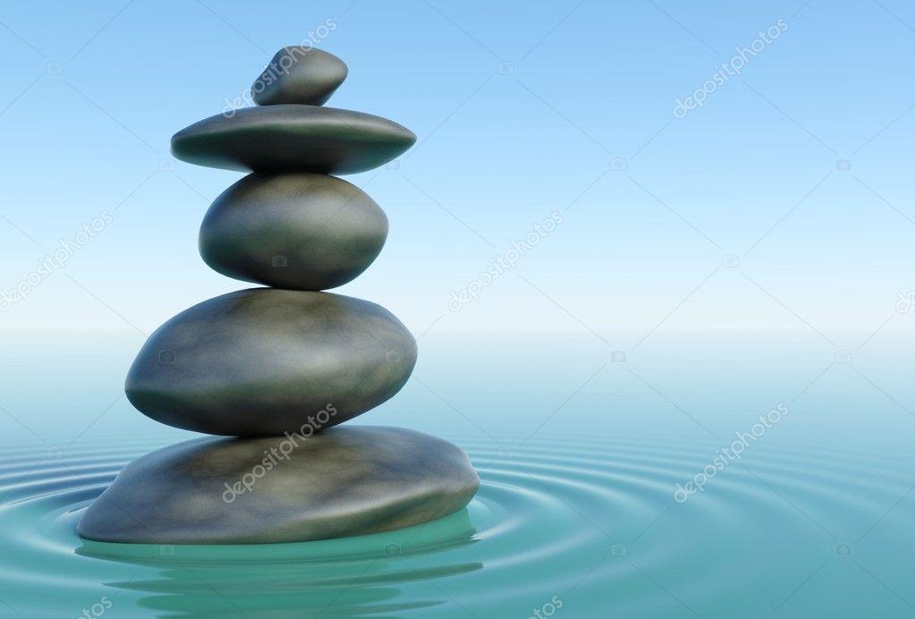 3d piedras zen en un agua de zen foto de stock for Fotos piedras zen
