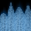 Stock Photo: Binary digital city, abstract 3d tech background