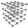 3d cube of balls, structure network and communication, isolated white — Stock Photo