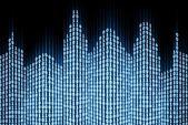 Binaire digitale stad, abstract 3d-tech achtergrond — Stockfoto