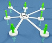 Connected collaborate in social network — Stock Photo