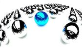 Individuality symbol, blue ball amongst other balls — Stock Photo
