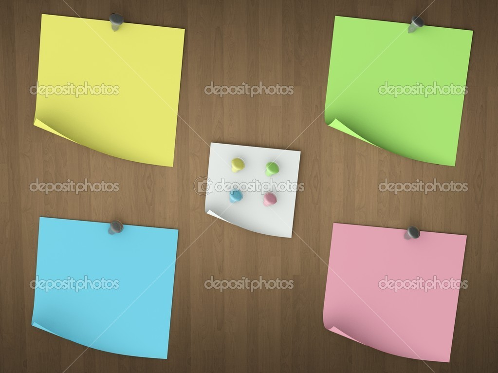3d Empty notes set on wood background — Stock Photo #6969239