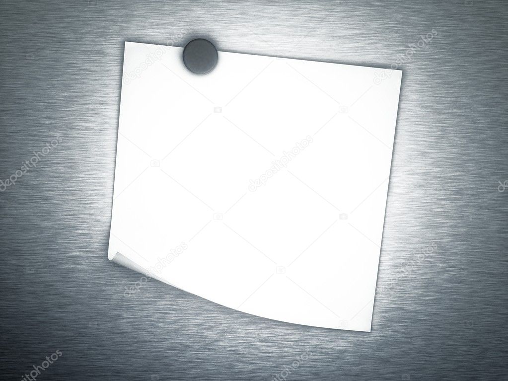 3d Empty note on metal background  Stock Photo #6969245