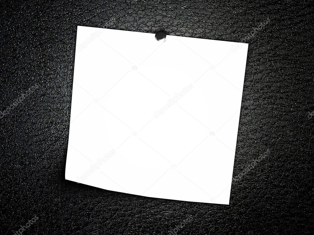 3d Empty note on leather background  Stock Photo #6969262