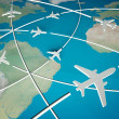 3d Airplane Routes on world map — Stock Photo #7700333