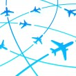 3d Airplane Routes, white background — Stock Photo #7700356
