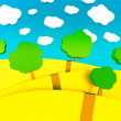3d cartoon illustration of landscape for children — ストック写真