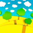 3d cartoon illustration of landscape for children — Стоковая фотография