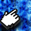 Abstract binary code with hand icon — Stock Photo